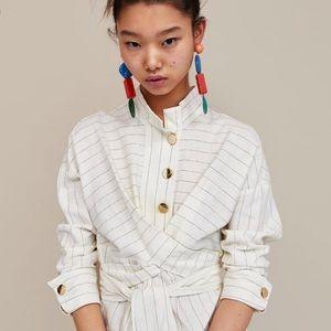 Zara Midi Wrap Striped Linen Dress